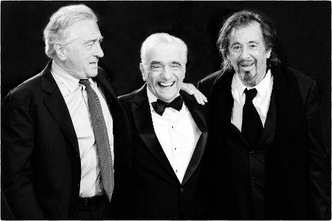 Robert Di Nero, Martin Scorsese og Al Pacino fotografert av Rune Hellestad før premieren på «The Irishman» i London i 2019.
