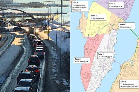 BOM-FORSLAGET: Slik blir bompengesystemet i Tromsø, hvis kommuneadministrasjonens forslag går gjennom. (Foto: arkiv)