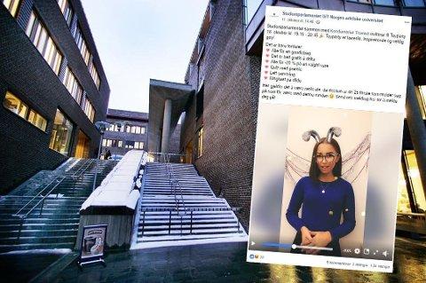 LA UT INVITASJON: Slik så posten Studenparlamentet la ut på sin Facebook-vegg den 11. oktober. Der inviteres studenter til «toyparty» på Kondomeret. Foto: Arkiv/Skjermdump Facebook/studentparlamentet