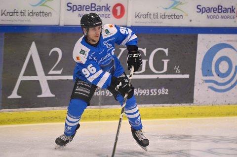 INVOLVERT I SAMTLIGE SCORINGER: Dante Salituro var involvert i alle fire Narvik hockey sine scoringer mot Sparta lørdag.