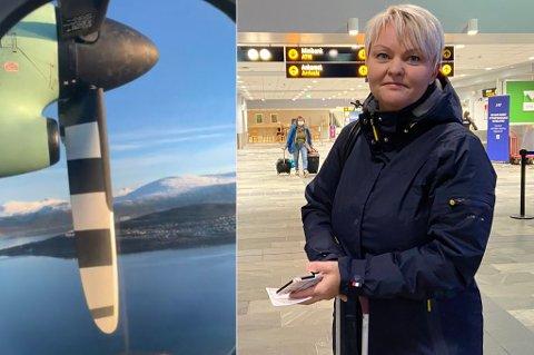 SNUDDE I LUFTA: Eli Ann Jolma var en av ni passasjerer om bord på et Widerøe-fly som måtte avbryte flyvningen til Lakselv tirsdag ettermiddag.
