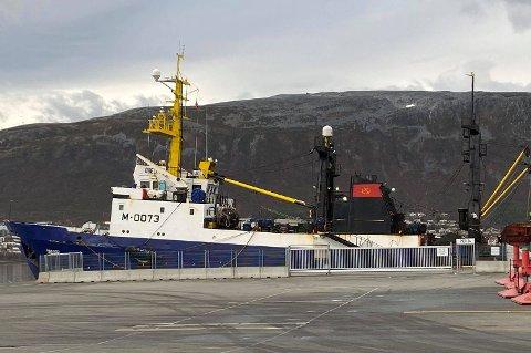 TIL KAI: Her ligger den russiske tråleren «Obelyay» i Breivika i Tromsø onsdag formiddag.