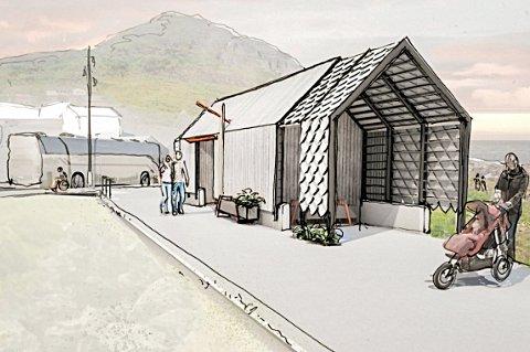 TEGNING: Slik skal det nye toalettanlegget i Mefjordvær bli.