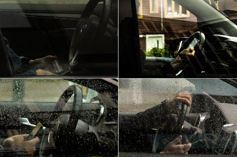 TASTER: Mens de ventet på grønt lys, brukte disse sjåførene tiden til å taste på mobiltelefonene sine. Det synes politiet svært lite om. Bildene er tatt mandag denne uken og forrige torsdag i Tromsø sentrum. Alle foto: Kjetil Grape