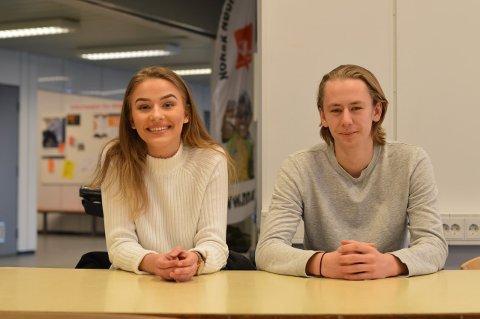 KOMMENDE ELEVRÅDSLEDER: Da Sebastian Wessman var elevrådsleder i fjor var Linn Wøyen Lenes nestleder. I år stiller hun som kandidat for å bli leder.