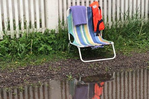 EGEN STRAND: Når det regner blir det vått i Nedre Keisemark. Veldig vått.