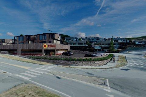 På Opstad jobber Coop med planer for en Extra-butikk med tomannsboliger på toppen.