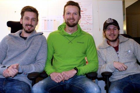 Gründere: Andreas Walle Wennersten (t.v.), Harald Fagerhaug og Fredrik Strand Oseberg (t.h.) er gründerene bak firmanavnet Avidyx. Foto: Karl Erik Andresen