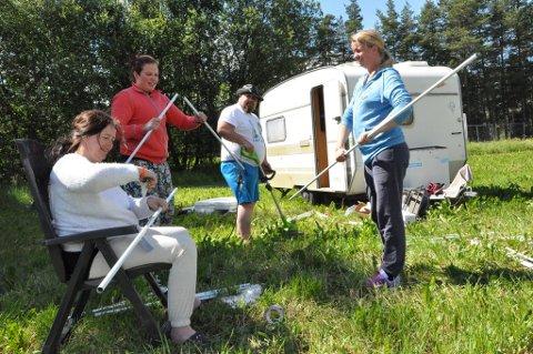 Denne gjengen fra Ålesund jobbet på dugnad for å få «leirplassen» klar i 2016.