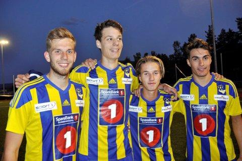 FORNØYDE MÅLSCORERE: Martin Solberg Nesset (f.v.), Esten Mengshoel, Edvard Wiker Lyseng og Sindre Bjerkli scoret Faaberg mål i oppgjøret mot Fron.