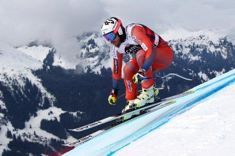 Norway's Kjetil Jansrud competes during an alpine ski, men's World Cup downhill training, in Wengen, Switzerland, Thursday, Jan. 11, 2018. (AP Photo/Alessandro Trovati)
