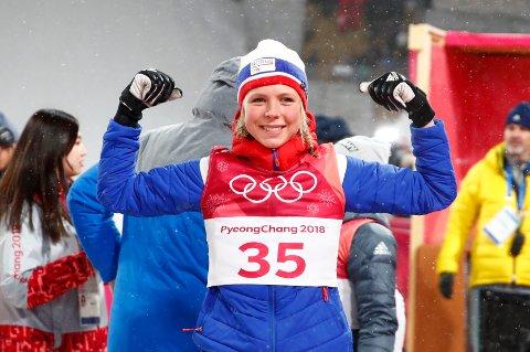 Pyeongchang, Sør-Korea 20180212. Maren Lundby etter at hun vant hoppkonkurransen i Alpensia Ski Jumping Centre under vinter-OL i Pyeongchang. Foto: Terje Pedersen / NTB scanpix