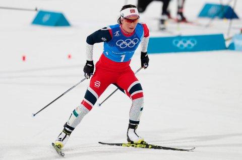 Marit Bjørgen i aksjon under langrenn 4x5 km stafett for kvinner  i Phoenix Snow Park i vinter-OL i Pyeongchang. Foto: Lise Åserud / NTB scanpix