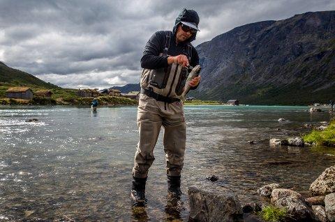 Erlend Kleiven fanget åtte ørret i Gjendeosen i løpet av tre timer.