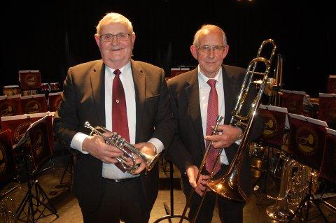 ILDSJELER: Jan Dyrud (til v.) og Rolf Granåsen har begge hatt sin musikerkarriere i Jaren Hornmusikkforening. Nå er det hverdagsdriften av korpset som opptar de to ildsjelene.