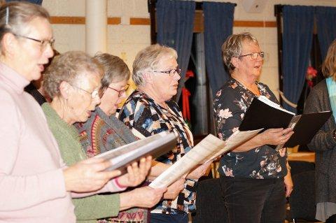 HENTER ENERGI: For Astrid Stensli er koret en viktig energikilde i hverdagen. Fra venstre: Kristin Swærd, Reidun M. Bartnes, Kari Brevik, Gerd Hoff og Astrid Stensli.