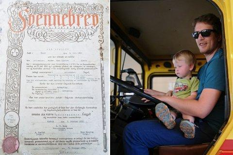 TILFELDIG FUNN: Da Andre og sønnen var ute på tur, fant sønnen dette gamle svennebrevet fra 1935.