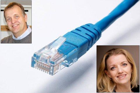 Strid: Arne Quist Christensen i Telenor anklager Viken fiber for å bryte med god forretningsskikk. Det avviser Anne Berit Rørlien i Viken fiber.