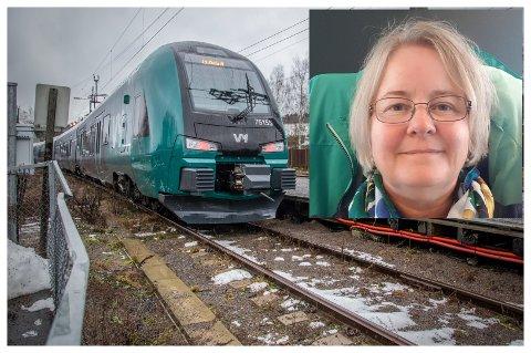 PENDLER: Guri Enerud fra Brandbu kjører tog til Oslo hver dag. Nå må hun og alle andre bruke munnbind dersom det ikke er mulig å holde tilstrekkelig avstand.