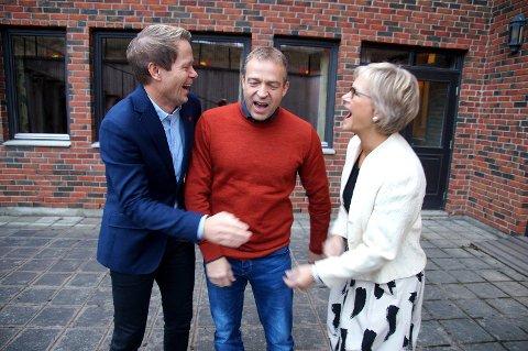 Venner og konkurrenter: Kommunene på Hadeland, her representert ved ordførerne, er gode venner - men i kommune-NM er de konkurrenter. Fra venstre Harald Tyrdal (Lunner), Morten Lafton (Jevnaker) og Randi Eek Thorsen (Gran).