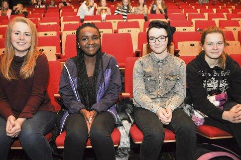 SKIKKELIG BRA:  De syntes jentekonferansen var skikkelig bra. Fra venstre Victoria Dahl, Laura Merveille Dahirwe, Tiril Brosveet og Victoria Strøm Vikran.
