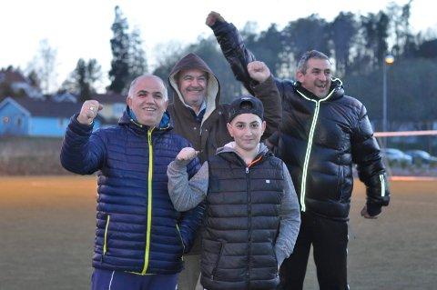 IVRIG HEIAGJENG: Afrim Salihu (fv), Mujat Peci, Albin Salihu og Faik Shkodrani heiet som best de kunne da Fredrikshald vant 5-2 over Berg 3.