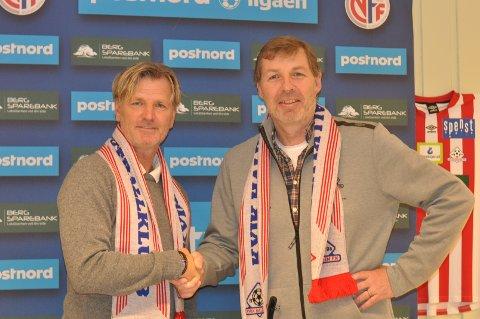 Kent Bergersen ønskes velkommen av Kvik-leder Bjørn Brevig.