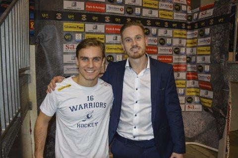 STOR ALDERSFORSKJELL: Herman Kopperud (t.v.) og Peter Lorentzen er i hver sin ende av hockeykarrieren.
