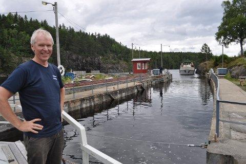 FORNØYD: Direktør Steinar Fundingsrud i Kanalselskapet er glad og takknemlig for at selskapet får nye seks millioner fra Riksantikvaren til oppgradering av anleggene.