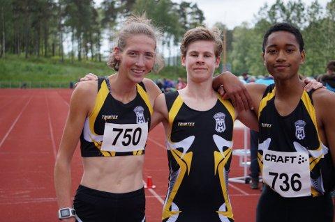 FLINKE: Tessa Frenay, Trym Tønnesen og Amaru Wijman fra Halden IL har alle løpt bra under Tyrvinglekene.