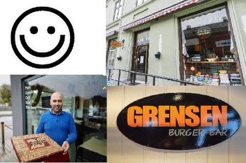 SMILEFJES: Grensen Burger-Bar, Torino Pizza og Erlandsen konditori fikk alle utdelt smilefjes av Mattilsynet.