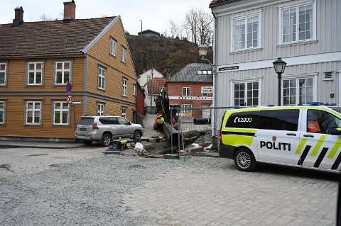 ULYKKE: Her på Tønne Huitfeldts plass på Sørhalden skjedde det en arbeidsulykke fredag formiddag.