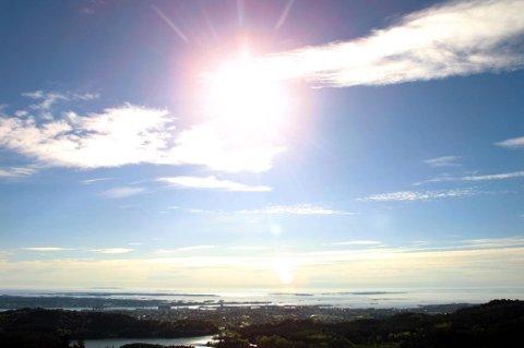 Haugesund 070502 Fint vær på Haugalandet. Utsikt fa Steinsfjellet.