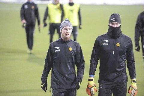TRENING: Klubbløse Thomas Drage (t.v.) på trening med Bodø/Glimt i helga.