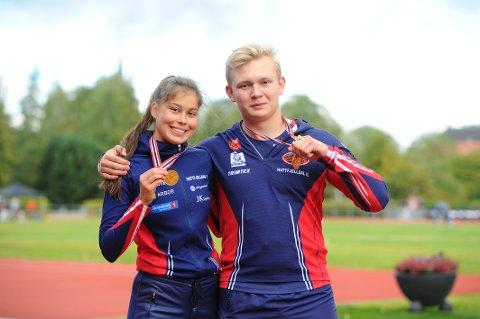 TO GANGER GULL: På første dag av UM i Trondheim sikret Henrik From Vesterlid og Sigrid Forsmo Kapskarmo gull til Hattfjelldal friidrett.