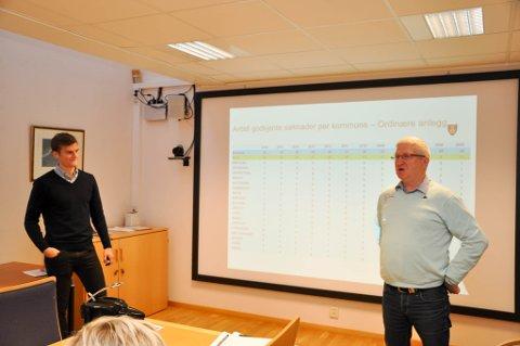 Trond Østgård i Finnmark idrettskrets (til høyre) og Emil Agersborg Bjørnå i Finnmark fylkeskommune besøkte onsdag formannskapet i Alta.