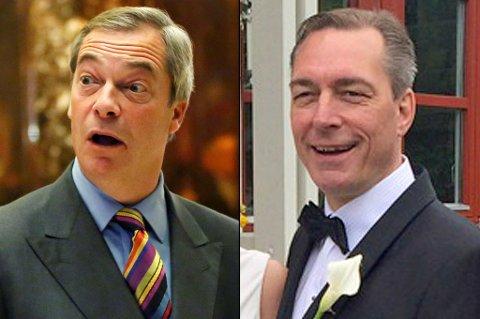 LIK?: Ved første øyekast ser de muligens litt like ut, men politisk står Brexit-general Nigel Farage og Frank Bakke-Jensen langt fra hverandre.