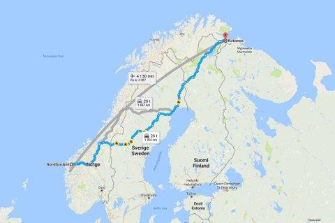 NESTEN 200 MIL: Den korteste distansen mellom Nordfjordeid og Kirkenes er på 1964 kilometer. Illustrasjon: Google Maps