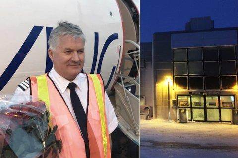 HISTORISK LANDING: FlyViking tar sin aller første kommersielle flytur mandag, hvor de lander i Hammerfest. Her er sjefen selv, Ola Giæver, avbildet etter landing i Tromsø hvor han ble møtt med roser og brannbil.