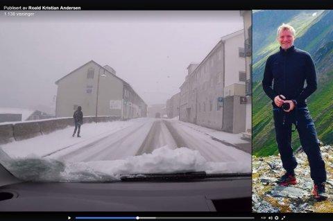 JULESTEMNING: Roald Kristian Andersen (54) får julestemning av videoen han har publisert fra Honningsvåg 10.mai. Som du kan se er han her avbildet tidligere i langt mer sommerlige omgivelser.