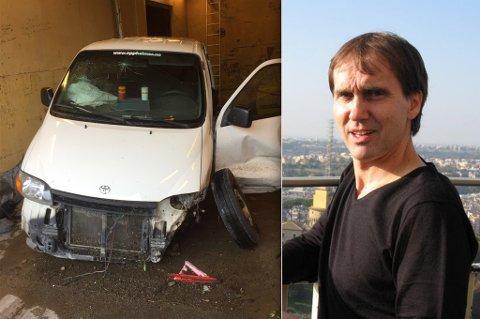 VRAKET I GRØFTA: Odd Erik Oppheim fikk varebilen tilbake i denne tilstanden. Noen tok den fra hans bedrift i helga og kjørte den i grøfta, full av alle mulige saker og ting fra hans bedrift.