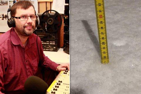 - MYE PÅ KORT TID: Raymond målte 21 cm med nysnø i Nordkapp.