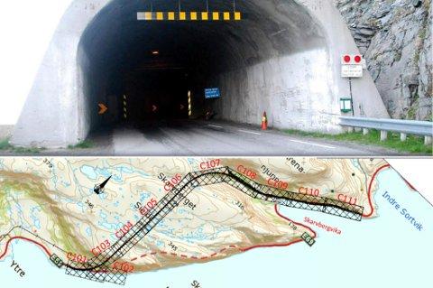 NÅVÆRENDE OG NY: På bildet ser du den nåværende Skarvbergtunnelen, og hvordan den nye er tenkt å gå, merket med svart.