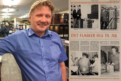 NÅ OG DA: Butikksjef for Vinmonopolet i Hammerfest Alf Ole Berglund, og en artikkel i Finnmark Dagblad fra 1969. Det har endret seg mye igjennom tidene.