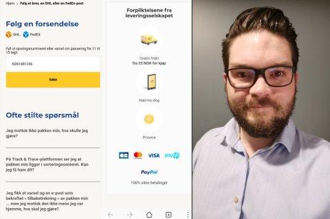 TOK SKJERMDUMP: Til venstre ser du skjermdump av siden som Thomas Katten Gladsø klikket seg inn på, etter at han fikk tekstmeldingen.  - Lett å tro at det var en ordentlig side, sier Gladsø, som likevel stusset over en del ting her.