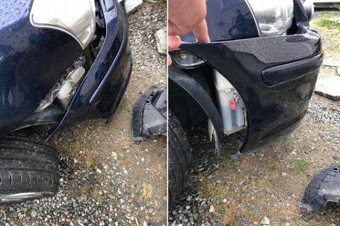 DYRE SKADER: Slik så bilen ut etter kjøreturen i Kløfta, forteller Arne Kristian.