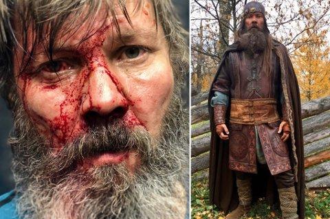 FRA INNSPILLINGEN: Hoff har det gøy på jobb som viking, men får også kjørt seg med kamptrening.