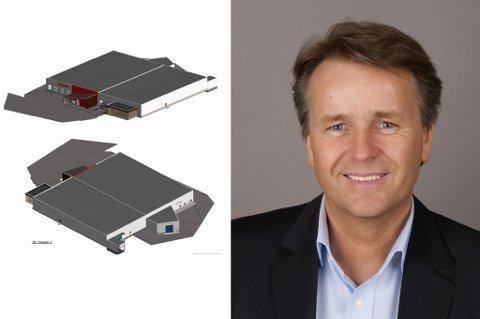 BEKREFTER PLANER: Development manager i Jysk, Lars Petter Christensen, bekrefter at Jysk planlegger å åpne i et helt nytt bygg. Til venstre ser du en av illustrasjonene på hvordan det er tenkt.