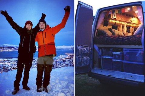 REISER DIT DE VIL: Ida og Alexander befinner seg nå i Alta med sin campervan.