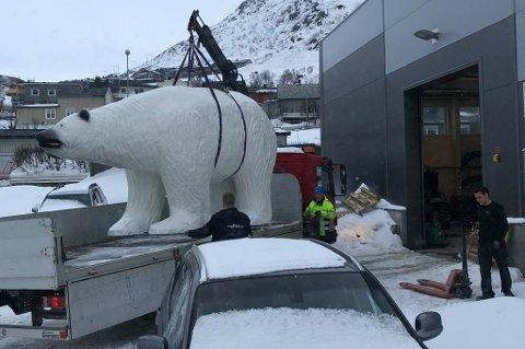 300 KG: Isbjørnen er anslått til å veie minst 300 kg, og måtte tas med lift inn på verkstedet.
